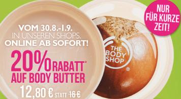 Post image for The Body Shop: 20% Rabatt auf Body Butter und versandkostenfrei Gutschein