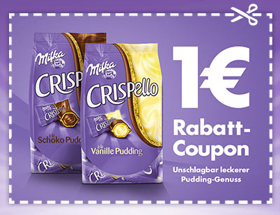 Post image for 1€ Rabatt-Coupon für Milka Crispello