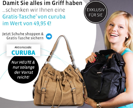 Post image for Mirapodo: Nur heute – Gratis curuba Damen Handtasche im Wert von 49,95 Euro beim Einkauf ab 60 Euro