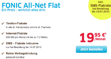 Fonic Allnet Flat inklusive SMS-Flat ohne Mindestlaufzeit