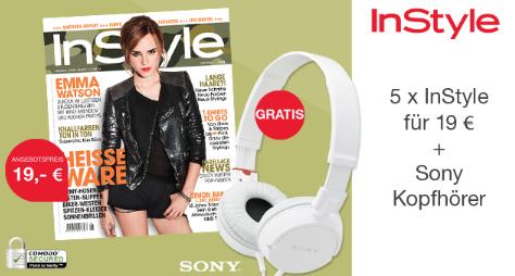 5 Ausgaben InStyle plus gratis Kopfhörer