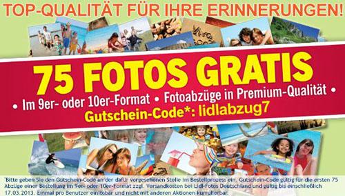 Post image for 75 Foto-Abzüge für 1,99€ inklusive Versand bei Lidl-Fotos