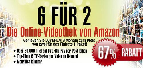 Lovefilm 6 für 2 Flatrate Angebot