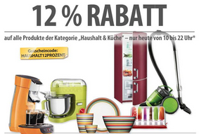 12% Rabatt auf Haushalts-Artikel bei meinpaket.de