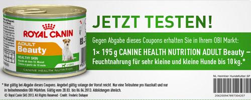 Royal Canin Hundefutter gratis bei Obi