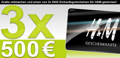 Post image for Gewinnspiel: 5 x 500€ Gutscheine für H&M zu gewinnen