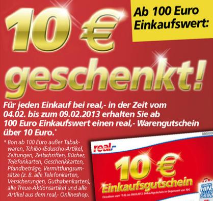 Post image for Real: 10€ Gutschein geschenkt ab einem Einkauf von 100€
